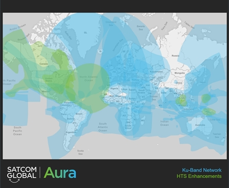 Aura VSAT coverage with HTS enhancements